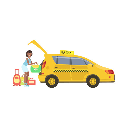 Woman Putting Her Luggage In The Trunk Of Yellow Taxi Car Stock Photo