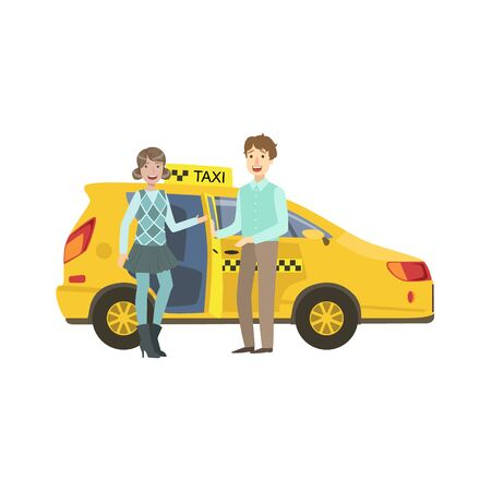 going out: Young Couple Entering Yellow Taxi Car