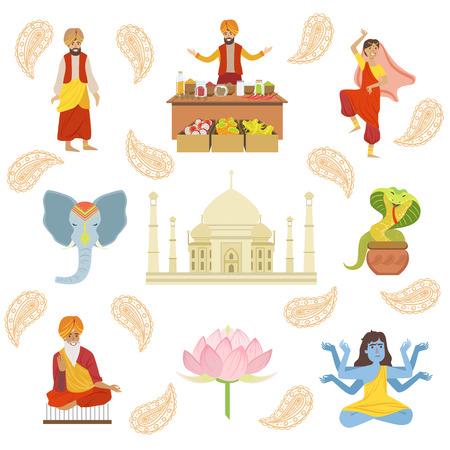 the taj mahal: Yoga, Taj Mahal And Other Indian Cultural Symbol Drawings