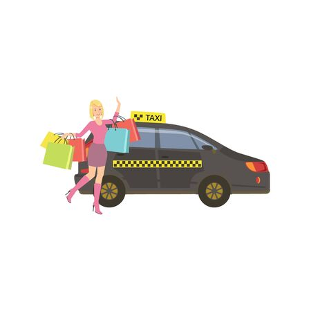 Woman With Many Shopping Bags Catching Black Taxi Car