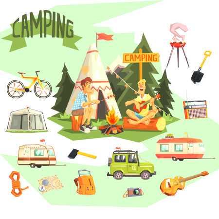 wigwam: Two Guys Enjoying Camping In Forest Surrounded By Related Objects Icons