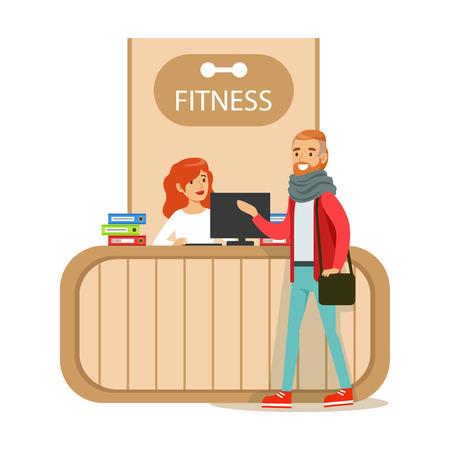 Fitness Club Odbioru Licznik Z Kobieta Recepcjonistka I Komputera Z Członkiem Klubu Zwiedzanie Ilustracje wektorowe