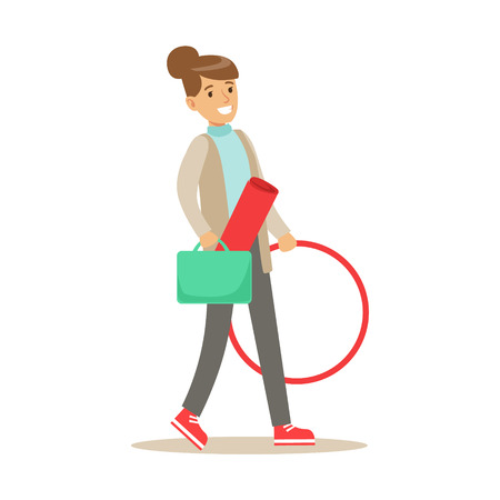 hula hoop: Fitness Club Trainer Walking To Work With Hula-hoop And Training Mat Illustration