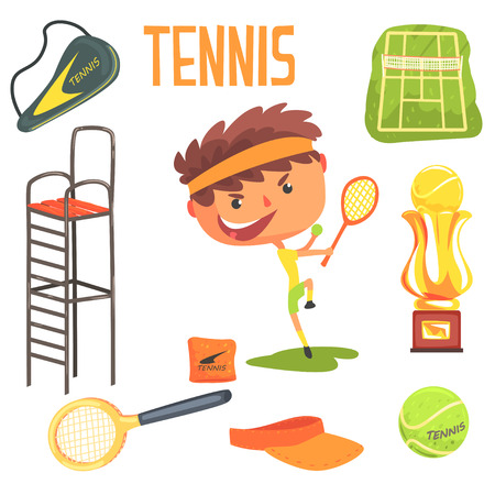 Boy Tennis Player,Kids Future Dream Professional Occupation Illustration With Related To Profession Objects Illustration