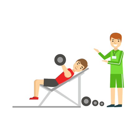 Man Weight Lifting With Personal Trainer, Member Of The Fitness Club Working Out And Exercising In Trendy Sportswear