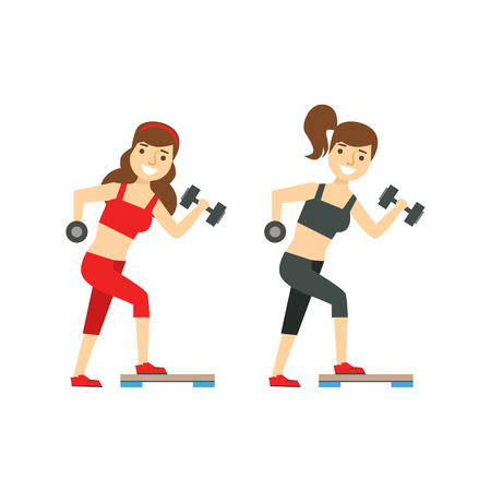 Girls Exercising With Dumbbells, Member Of The Fitness Club Working Out And Exercising In Trendy Sportswear