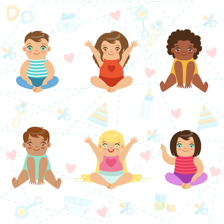 Adorable Big-Eyed Babies Sitting And Smiling, Set Of Cartoon Happy Infant Characters Çizim