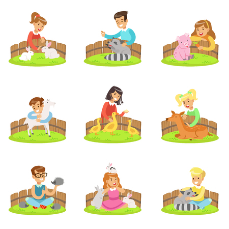 Enfants caresser les petits animaux dans le zoo pour enfants ensemble d'illustrations de dessin animé avec des enfants s'amusant
