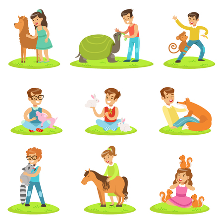 domesticated: Children Petting The Small Animals In Petting Zoo Collection Of Cartoon Illustrations With Kids Having Fun