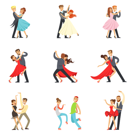 waltz: Professional Dancer Couple Dancing Tango, Waltz And Other Dances On Dancing Contest Dancefloor Set