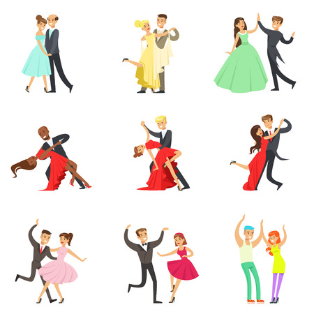 Professional Dancer Couple Dancing Tango, Waltz And Other Dances On Dancing Contest Dancefloor Collection