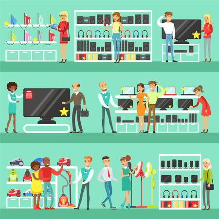 Glimlachende Mensen die in Elektronische opslag voor Binnenlands Materiaal winkelen die met Winkel Hulphulpreeks Beeldverhaalkarakters kiezen