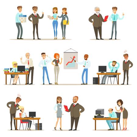 Big Boss beheren en toezicht houden op het werk van Office-werknemers Collectie van topmanager en werknemers illustraties Vector Illustratie