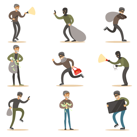 mugging: Burglars, Muggers And Thieves Set Of Smiling Criminals At The Crime Scene Stealing Vector Illustrations