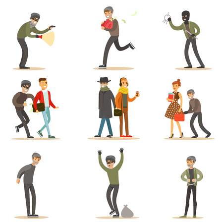 Burglars, Pickpockets And Thieves Set Of Smiling Criminals At The Crime Scene Stealing Vector Illustrations Vettoriali