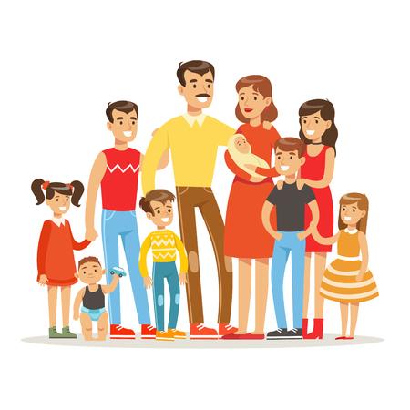 Glückliche Big kaukasische Familie mit vielen Kindern Porträt mit allen Kindern und Babys und müde Eltern Bunte Illustration