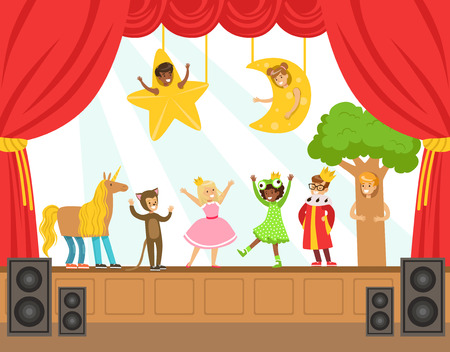 stage costume: Children Actors Performing Fairy-Tale On Stage On Talent Show Colorful Vector Illustration With Talented Schoolkids Theatre Performance