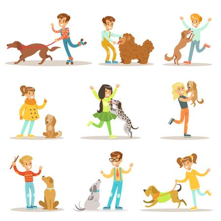 Zestaw ilustracji dzieci i psów z dziećmi bawiącymi się i opiekujący się zwierzętami domowymi