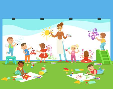 Jonge kinderen in de kunst klasse tekenen en schilderen met leraar in een kleuterschool