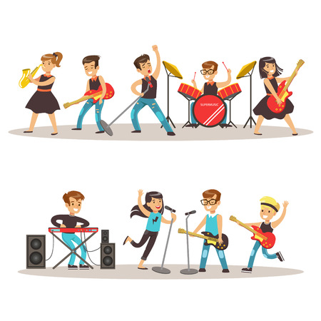 talented: Children Musicians Performing On Stage On Talent Show Colorful Vector Illustration With Talented Schoolkids Concert