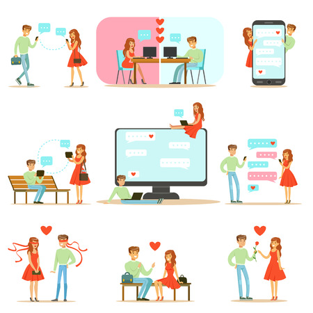 preset: People Finding Love And Dating Using Dating Web Sites And App On Smartphones And Computers Infographic Illustration