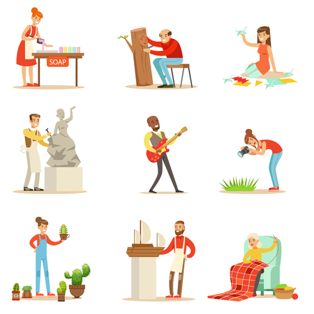 hobbies: Adult People And Their Creative And Artistic Hobbies Series Of Cartoon Characters Doing Their Favorite Things Stock Photo