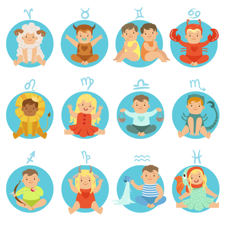 Babies In Twelve Zodiac Signs Costumes Sitting And Smiling Dressed As Horoscope Symbols Stock Photo
