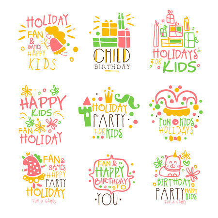 Kids Birthday Party Entertainment Promo Signs Series Of Colorful Vector Design Templates With Festive Symbols Illustration