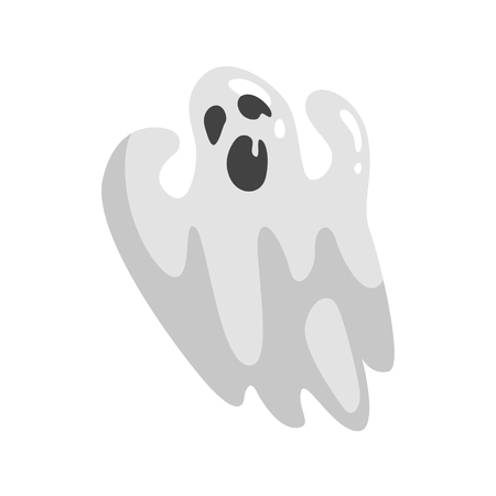 White Ghost In Childish Cartoon Manner Isolated On White Background.