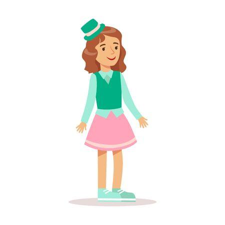 녹색 탑 모자 스마일 만화 캐릭터와 함께 클래식 걸 드레스 옷에 행복 소녀