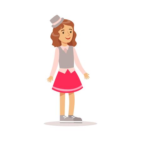 클래식 소녀 옷과 만화 모자를 쓰고 서 회색 탑 모자에 행복 소녀