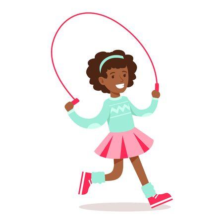 고전적인 소녀 옷을 입고 건너 뛰는 밧줄로 달리는 스마일 만화 캐릭터의 행복한 소녀