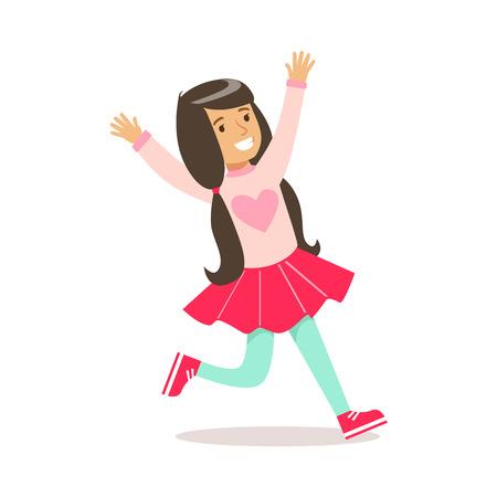 Gelukkig meisje in klassieke Girly kleur trui met hart afdrukken en paardenstaarten glimlachend stripfiguur