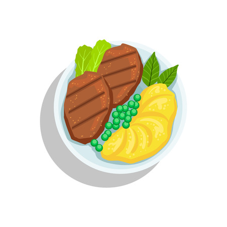 Beef Steak With Mashed Potato And Peas, Oktoberfest Grill Food Plate Illustration