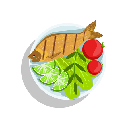 Fish With Lime And Tomatos, Oktoberfest Grill Food Plate Illustration Illustration