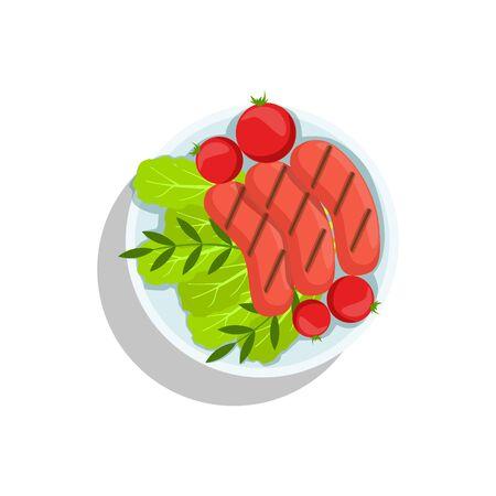 food plate: Sausages With Tomato And Salad, Oktoberfest Grill Food Plate Illustration Illustration