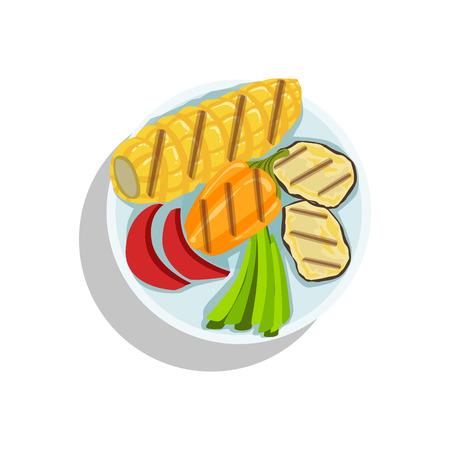 Corn And Grilled Vegetables, Oktoberfest Grill Food Plate Illustration