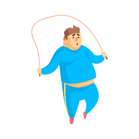 saltar: Funny Chubby Man Character Doing Gym Workout Jumping On Skipping Rope Illustration Vectores
