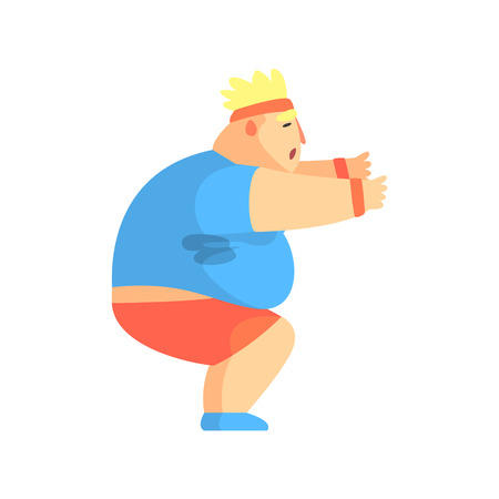 Funny Chubby Man Character Doing Sit Ups At Gym Workout Sweating Illustration