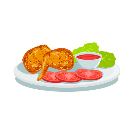 Potato Chips, Ketchup And Tomato, Oktoberfest Grill Food Plate Illustration