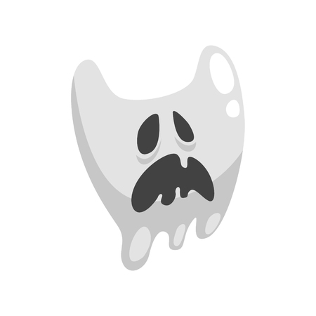 spectre: White Ghost In Childish Cartoon Manner Isolated On White Background.