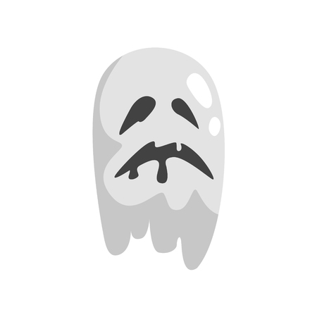 the spectre: White Ghost In Childish Cartoon Manner Isolated On White Background.