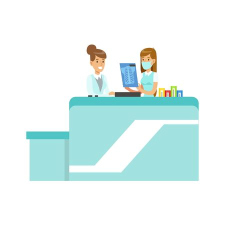 Doctor Showing An X-Ray To Intern, Hospital And Healthcare Illustration Illustration
