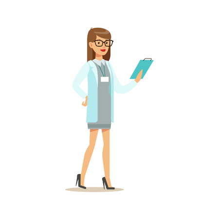 Doctor Studying Patients Medical History File, Hospital And Healthcare Illustration