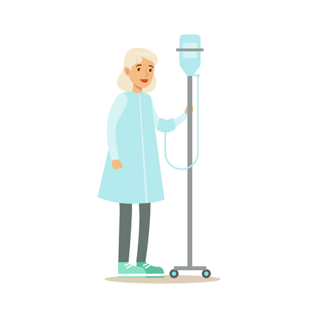 Old Lady Walking In Corridor With Dropper, Hospital And Healthcare Illustration Vettoriali
