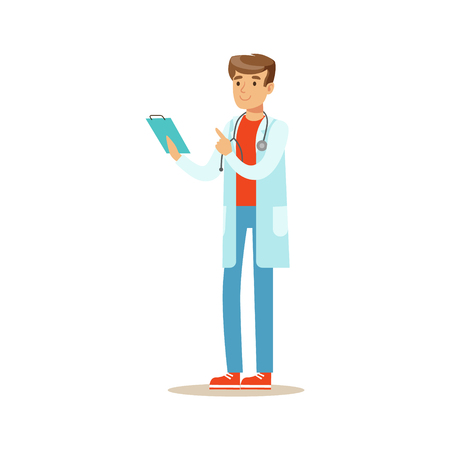 Doctor Reading Patients Medical Hictory On Clipboard, Hospital And Healthcare Illustration