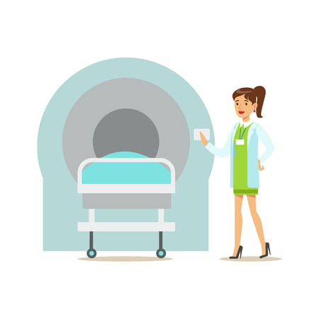 Doctor Standing Next To MRI Magnetic Resonance Machine, Hospital And Healthcare Illustration