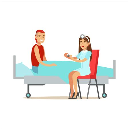 woman lying in bed: Nurse GIving Pills Prescribed Medication To Patient, Hospital And Healthcare Illustration