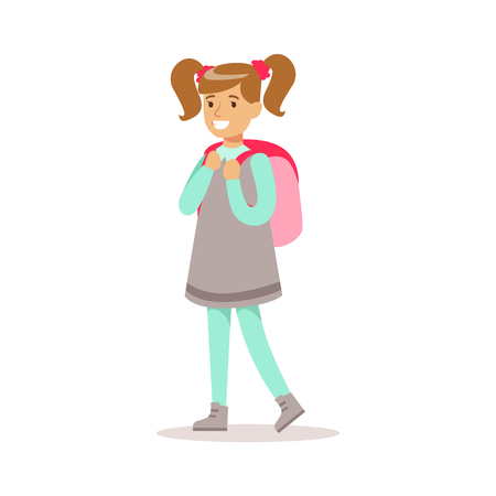 ponytails: Happy Girl With Ponytails In Classic Girly Color Clothes Smiling Cartoon Character Going To School Illustration