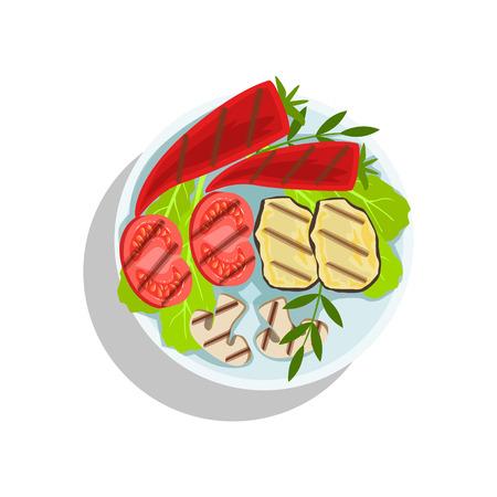 Vegetaran Grilled Set, Oktoberfest Grill Food Plate Illustration